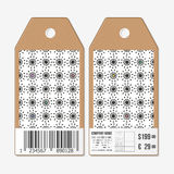 Vector tags design on both sides, cardboard sale labels with barcode. Abstract flowers pattern. Simple black monochrome Stock Photos