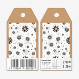 Vector tags design on both sides, cardboard sale labels with barcode. Abstract flowers pattern. Simple black monochrome Stock Photography