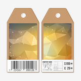 Vector tags design on both sides, cardboard sale labels with barcode. Abstract geometric colorful triangle background. Stock Images