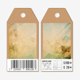 Vector tags design on both sides, cardboard sale labels with barcode. Abstract wooden polygonal background Royalty Free Stock Photography