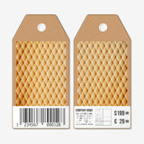 Vector tags design on both sides, cardboard sale labels with barcode. Abstract wooden polygonal background Royalty Free Stock Image