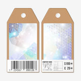 Vector tags design on both sides, cardboard sale labels with barcode.  Royalty Free Stock Photography