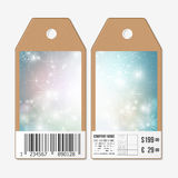 Vector tags design on both sides, cardboard sale labels with barcode. Blue abstract winter background Royalty Free Stock Photo