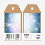 Vector tags design on both sides, cardboard sale labels with barcode. Blue abstract winter background Stock Photography