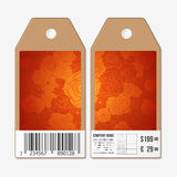Vector tags design on both sides, cardboard sale Royalty Free Stock Photo