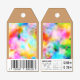 Vector tags design on both sides, cardboard sale labels with barcode. Colorful background, Holi celebration, vector Royalty Free Stock Photography