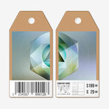 Vector tags design on both sides, cardboard sale labels with barcode. Colorful graphic design, abstract vector Royalty Free Stock Images