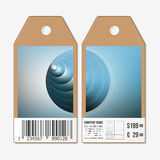 Vector tags design on both sides, cardboard sale labels with barcode. Colorful graphic design, abstract vector Stock Photo