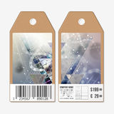 Vector tags design on both sides, cardboard sale labels with barcode. DNA molecule structure. Science background Royalty Free Stock Photography