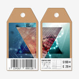 Vector tags design on both sides, cardboard sale labels with barcode. DNA molecule structure. Science background Stock Photos