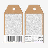 Vector tags design on both sides, cardboard sale labels with barcode Stock Photo