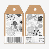 Vector tags design on both sides, cardboard sale labels with barcode. Hand drawn floral doodle pattern, abstract vector Stock Images