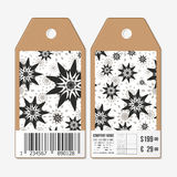 Vector tags design on both sides, cardboard sale labels with barcode. Hand drawn floral doodle pattern, abstract vector Royalty Free Stock Image