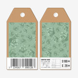 Vector tags design on both sides, cardboard sale labels with barcode.  Stock Photo
