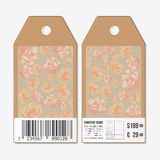 Vector tags design on both sides, cardboard sale labels with barcode. Hand drawn floral pattern, abstract vector Royalty Free Stock Photo