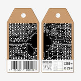 Vector tags design on both sides, cardboard sale labels with barcode. Microchip background, electronic circuit.  Royalty Free Illustration
