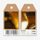 Vector tags design on both sides, cardboard sale labels with barcode. Polygonal design, colorful geometric hexagonal Royalty Free Stock Photos
