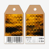 Vector tags design on both sides, cardboard sale labels with barcode. Polygonal design, colorful geometric hexagonal Royalty Free Stock Image