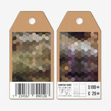 Vector tags design on both sides, cardboard sale labels with barcode. Polygonal design, colorful geometric hexagonal Stock Photo