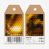 Vector tags design on both sides, cardboard sale labels with barcode. Polygonal design, colorful geometric triangular Stock Photo