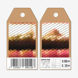 Vector tags design on both sides, cardboard sale labels with barcode. Polygonal design, colorful geometric triangular Stock Image