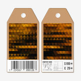 Vector tags design on both sides, cardboard sale labels with barcode. Polygonal design, colorful geometric triangular Stock Photography