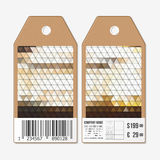 Vector tags design on both sides, cardboard sale labels with barcode. Polygonal design, colorful geometric triangular Royalty Free Stock Image