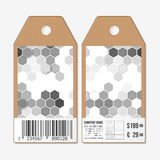 Vector tags design on both sides, cardboard sale labels with barcode. Polygonal design, geometric hexagonal backgrounds Stock Photo