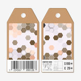 Vector tags design on both sides, cardboard sale labels with barcode. Polygonal design, geometric hexagonal backgrounds Stock Photography