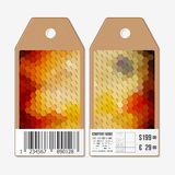 Vector tags design on both sides, cardboard sale labels with barcode. Polygonal design, geometric hexagonal backgrounds Stock Photos