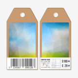 Vector tags design on both sides, cardboard sale labels with barcode. Polygonal design, geometric triangular backgrounds Royalty Free Stock Images