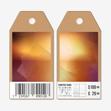 Vector tags design on both sides, cardboard sale labels with barcode. Royalty Free Stock Image