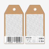 Vector tags design on both sides, cardboard sale labels with barcode. Recurring cubes. Geometric pattern.  Stock Photos