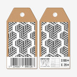 Vector tags design on both sides, cardboard sale labels with barcode. Recurring cubes. Geometric pattern. Simple Royalty Free Stock Images