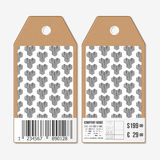 Vector tags design on both sides, cardboard sale labels with barcode. Recurring cubes. Geometric pattern. Simple Royalty Free Stock Photos