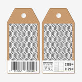Vector tags design on both sides, cardboard sale labels with barcode. Recurring cubes. Geometric pattern. Simple Stock Image