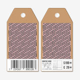 Vector tags design on both sides, cardboard sale labels with barcode. Recurring cubes. Geometric pattern. Simple Royalty Free Stock Photography