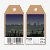 Vector tags design on both sides, cardboard sale labels with barcode. Shipyard and city landscape Stock Photo