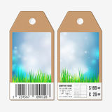 Vector tags design on both sides, cardboard sale labels with barcode. Spring background, blue sky and green grass Stock Image