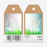 Vector tags design on both sides, cardboard sale labels with barcode. Spring background, blue sky and green grass Stock Photo