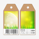 Vector tags design on both sides, cardboard sale labels with barcode. Spring background. Stock Photos