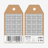 Vector tags design on both sides, cardboard sale labels with barcode. Ukrainian folk art Stock Images