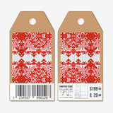 Vector tags design on both sides, cardboard sale labels with barcode. Ukrainian folk art. Traditional embroidery, ethnic Royalty Free Stock Images