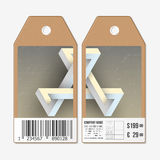Vector tags design on both sides, cardboard sale labels with barcode.  Stock Photos