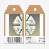 Vector tags design on both sides, cardboard sale labels with barcode. Unreal impossible geometric figure, abstract Royalty Free Stock Image