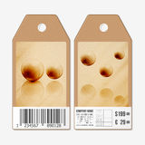 Vector tags design on both sides, cardboard sale labels with barcode. Wooden design, abstract vector background Stock Image