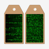 Vector tags design on both sides, cardboard sale labels. Virtual reality, abstract technology background with green Royalty Free Stock Photography