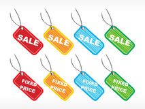 Vector tags for fixed price sale Royalty Free Stock Images