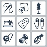 Vector tailor and sewing icons set Royalty Free Stock Photos