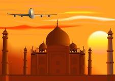 Vector Taj Mahal, zonsondergang, straal. Stock Foto